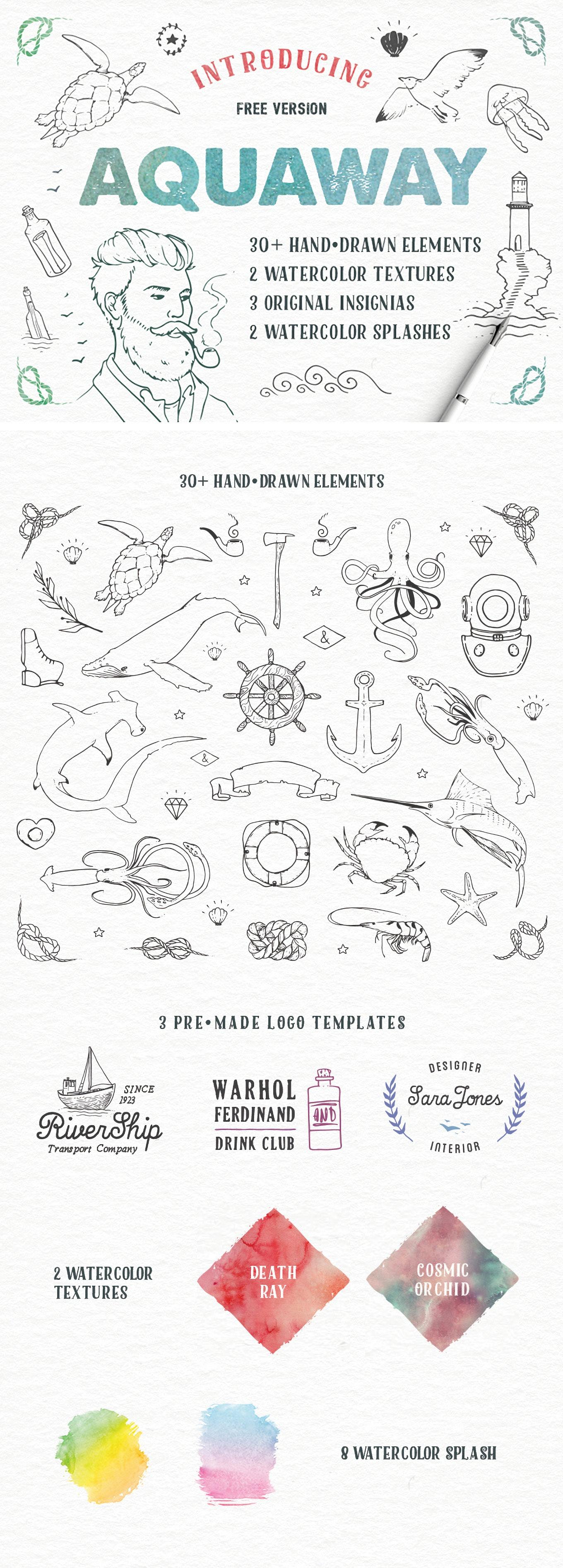 30多个矢量动物植物海洋徽章人物水彩元素设计素材模板