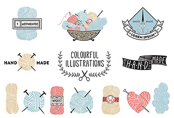几种适合用于针织类产品logo设计的矢量素材下载[EPS]