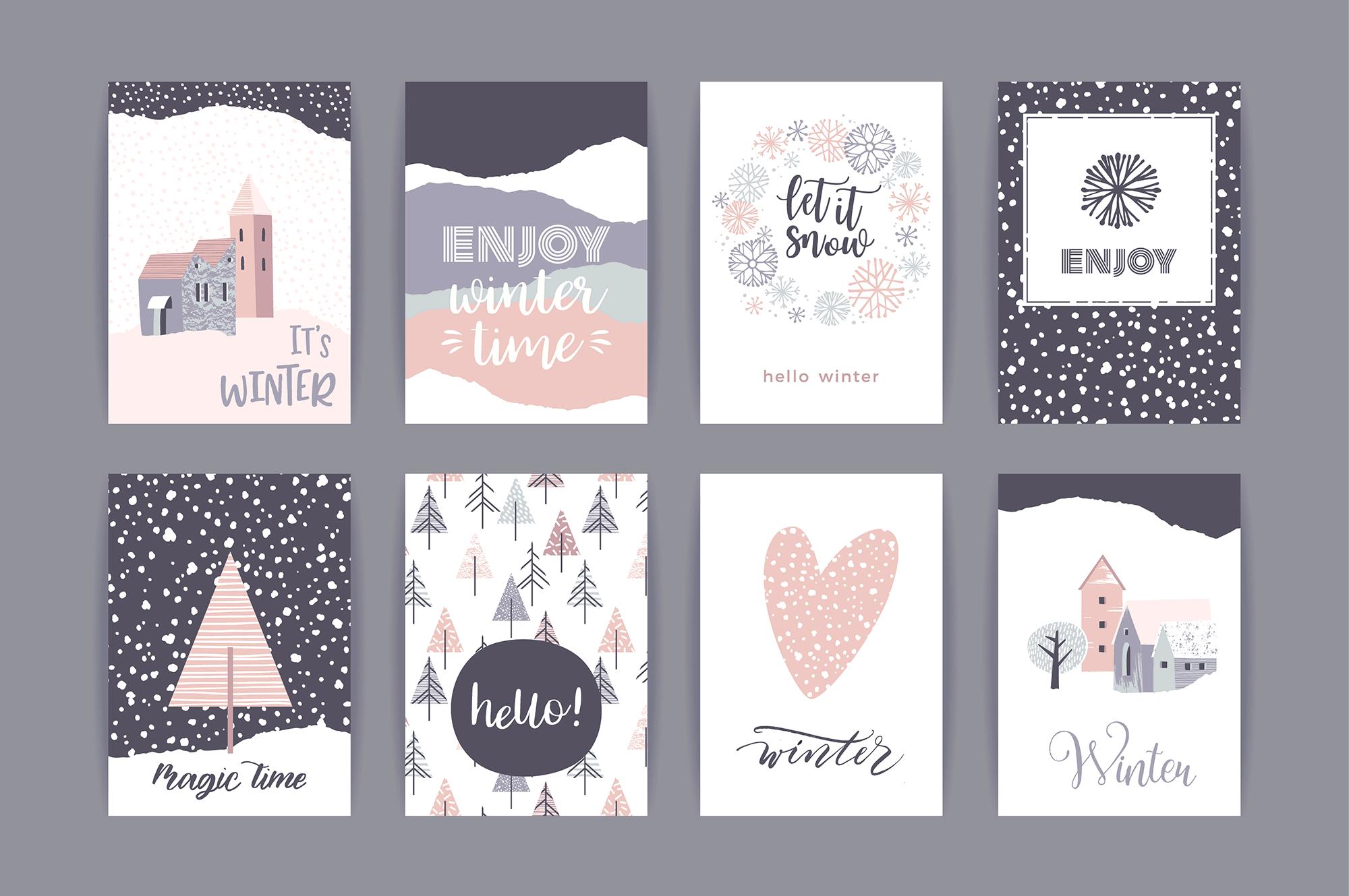 冬季创意卡片合集 Set of artistic creative winter cards设计素材模板