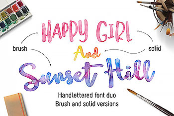 漂亮的手绘字体 Sunset Hill Brush Font Bundle