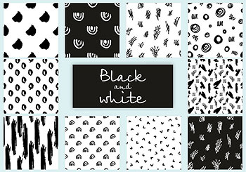 抽象的黑白矢量纹理连续无缝背景素材包[eps]