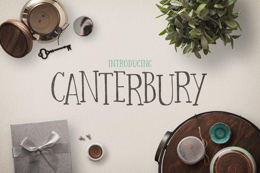 有趣的字体下载 Canterbury + Bonus Mockups设计素材模板