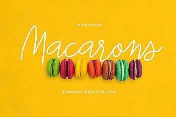 马卡龙签名字体 Macarons Font and Extras