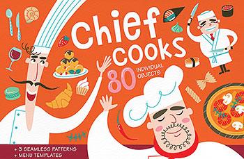 多种矢量的餐厅厨房设计元素菜单打包下载[eps]
