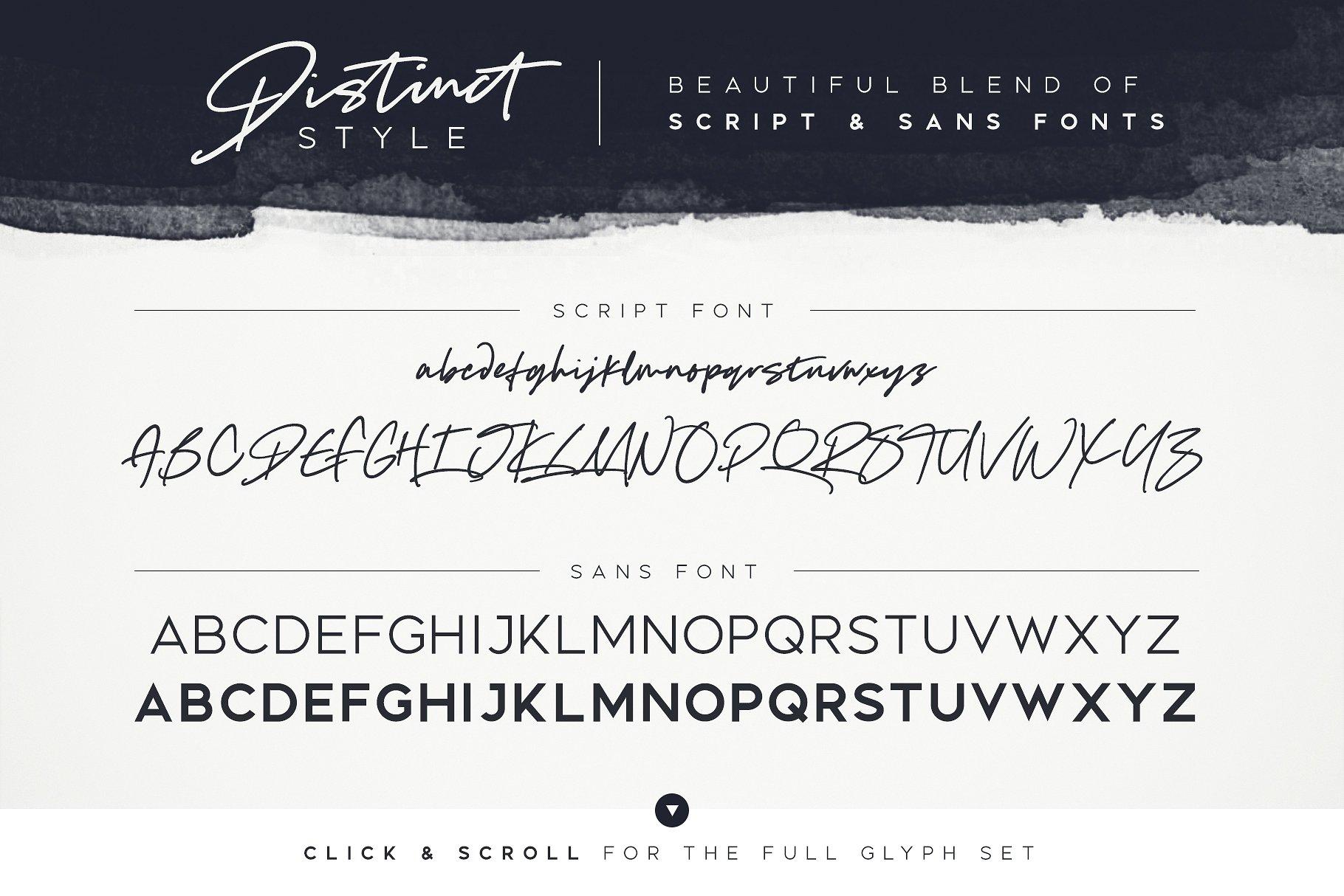 独特风格手写英文字体 Distinct st<x>yle Font Duo设计素材模板