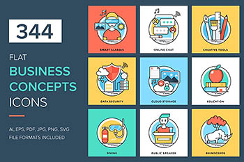 344个平面业务概念图标 344 Flat Business Concepts Icons