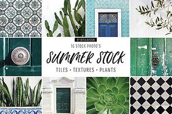 背景夏季清新绿色文艺风景植物平面图形花纹高分辨率JPG