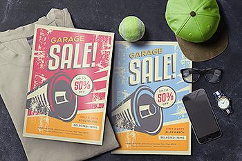 旧货市场促销海报传单模板 Garage Sale!