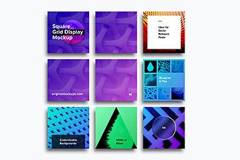 方形网格展示模型 Square Grid Display Mockup