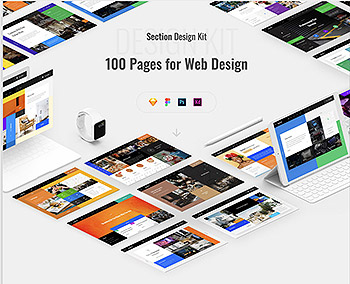 时尚的方块风格的网页模板下载[Sketch,Fig,PSD,XD,1GB]