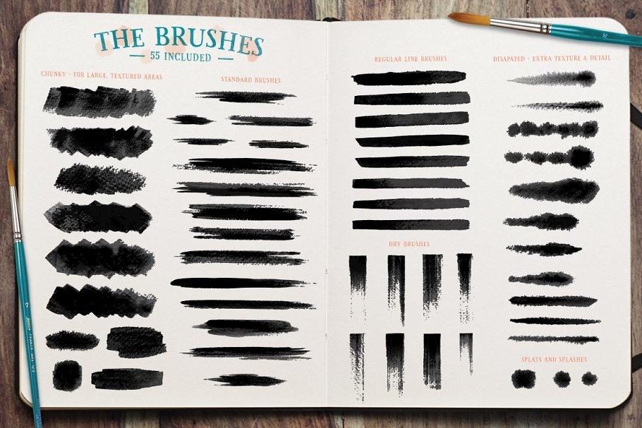 水彩笔刷素材包 Watercolor Brushes设计素材模板