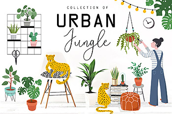 插画绿植矢量 Urban Jungle collection