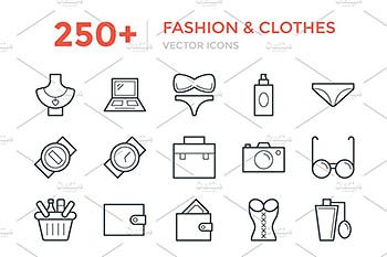 250+时尚服装图标 250+ Fashion and Clothes Icons