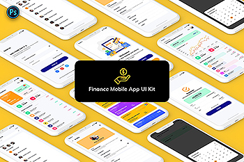 金融网上交易APP应用UI界面设计模板 Finance Mobile App Template UI Kit Light Version