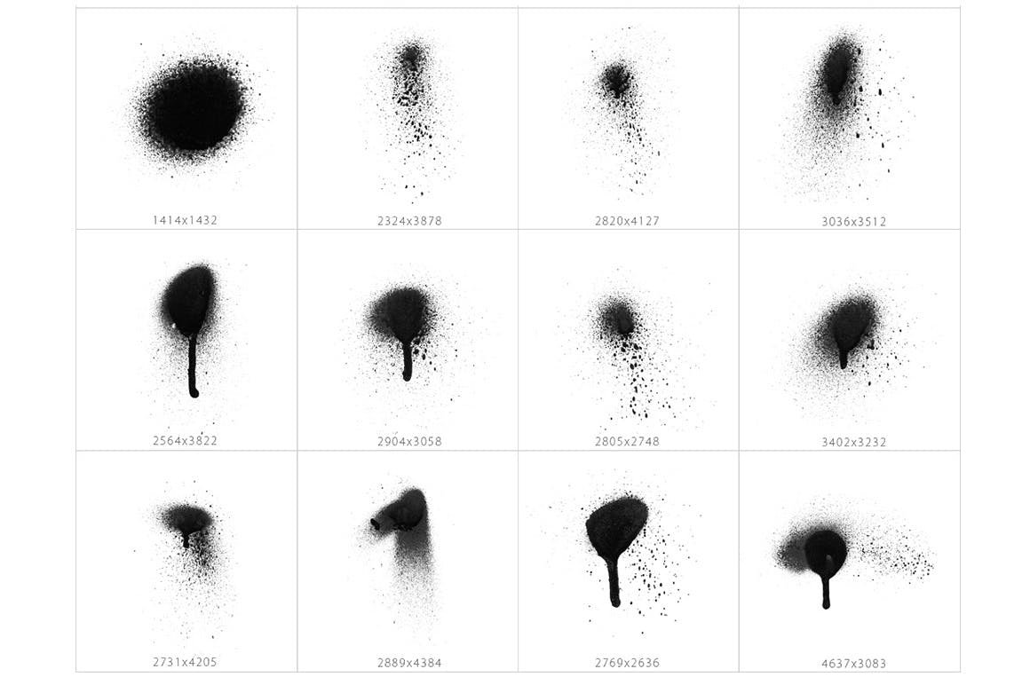 101个的不同喷涂质感的中国风水墨PHOTOSHOP笔刷大集合设计素材模板