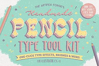 图层样式卡通甜美铅笔手绘风格 The Hand-drawn Pencil Type Tool Kit