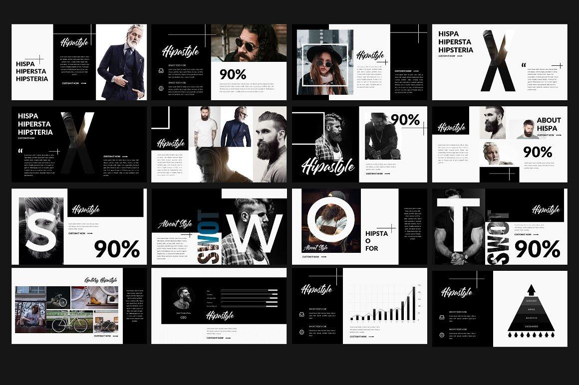 超现代和时尚的主题演讲模版设计素材模板