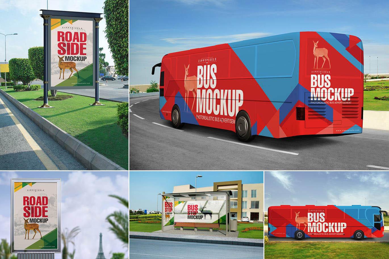 高品质的房地产公交车车体广告VI样机展示模型mockups