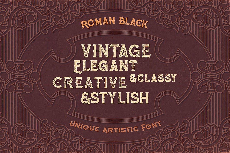 时尚高端震撼奢华质感欧式复古风格的Roman Black英文字体下载设计素材模板