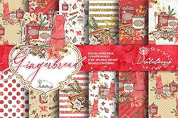 圣诞节&姜饼数码纸张背景素材 Christmas Gingerbread digital paper pack