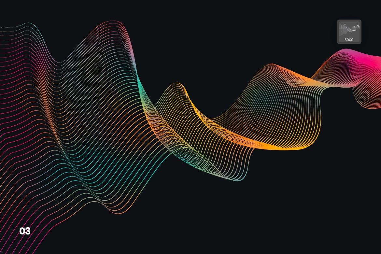 时尚高端简约抽象高科技质感的数字线性波浪Photoshop笔刷大集合设计素材模板