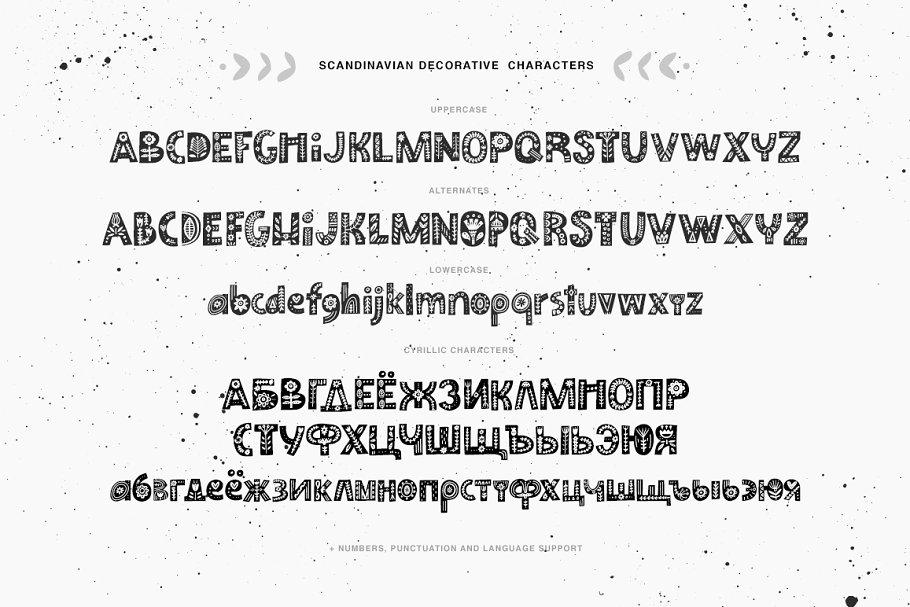 纳维亚艺术字体 Scandinavian Font Family设计素材模板