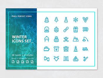 优秀的绘制冬季圣诞主题图标下载[Ai]