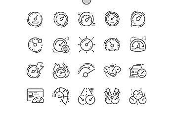 码表速度表线型图标 Speedometer Line Icons