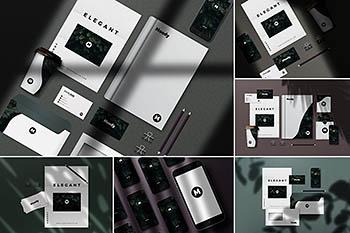 带有阴影质感的8个时尚高端多用途的高品质办公文具VI样机展示模型mockups