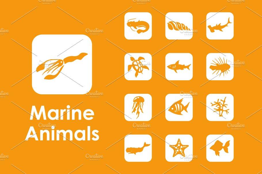 36个海洋动物简单的图标 36 marine animals simple icons设计素材模板