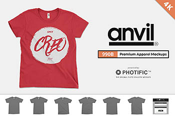 美式年轻人T恤样机 Anvil 990B Youth T-Shirt Mockups