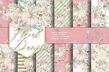花卉&南瓜水彩手绘图案纸张设计素材 Floral pumpkin digital paper pack