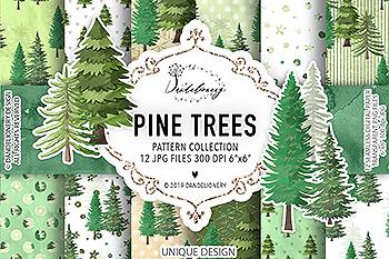 松树水彩手绘图案数码纸张设计素材 Pine trees digital paper pack
