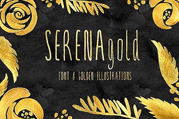 金色花卉字体设计素材 SERENA gold. Font & golden flowers.