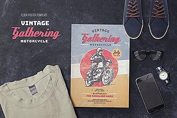 古董摩托车传单海报模板 Vintage Motorcycle Gathering