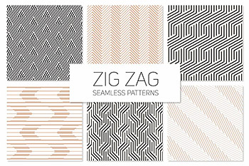 转弯锯齿无缝图案集 Zig Zag Seamless Patterns Set