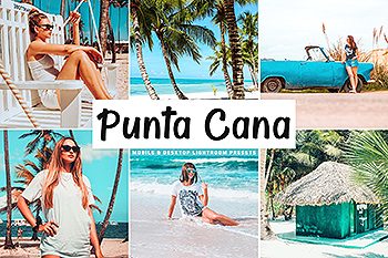 蓝色&绿松石色自然暖色调Lightroom预设 Punta Cana Mobile & Desktop Lightroom Presets