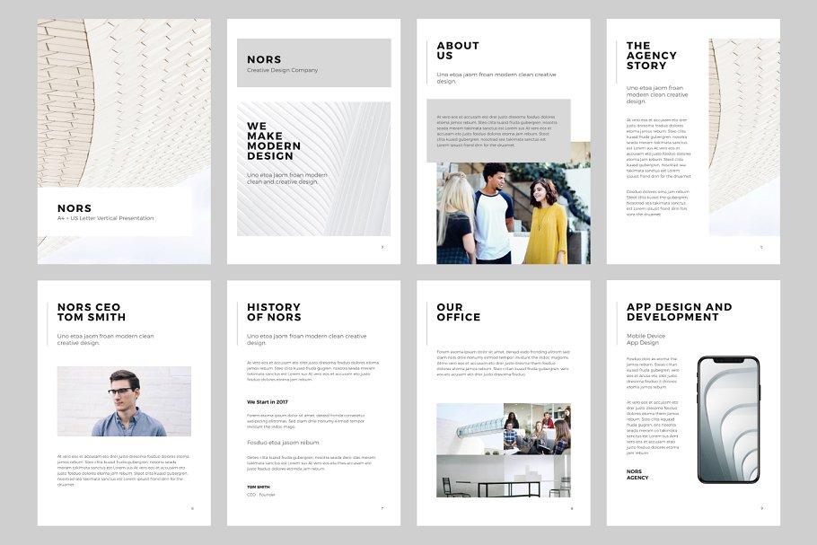 垂直A4产品设计展示keynote模版 NORS A4 Vertical Keynote + 20 Photos设计素材模板