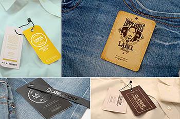 高品质的服装标签挂签VI样机展示模型mockups