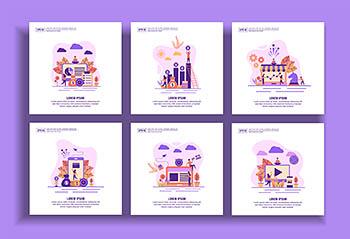 时尚简约扁平化风格的banner海报着陆页插画设计模板(eps)