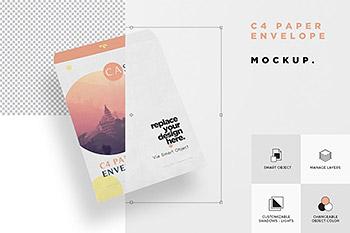 时尚高端清新多用途的高品质房地产C4信封设计VI样机展示模型mockups