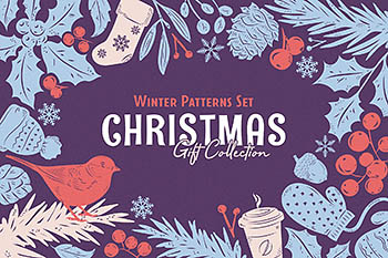 礼物圣诞节背景纹理 Christmas Gift: Vector Patterns Set