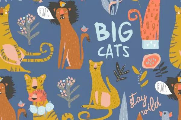 野猫/狮子/老虎卡通手绘无缝图案背景素材 Seamless pattern of cartoon wild cats. Lion,