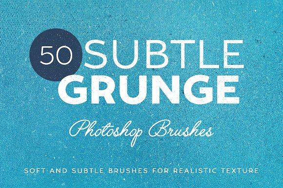 50个微妙的粗糙纹理PS笔刷 50 Subtle Grunge Brushes设计素材模板