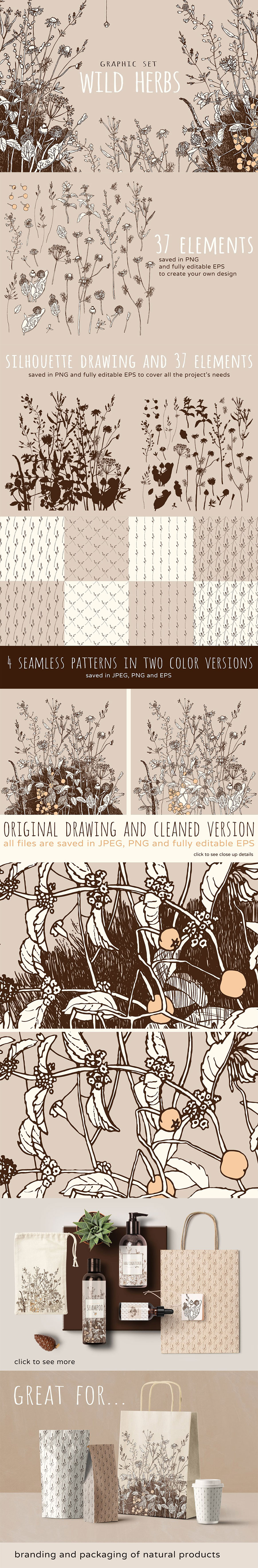 漂亮素雅的花卉矢量图案下载[EPS]设计素材模板
