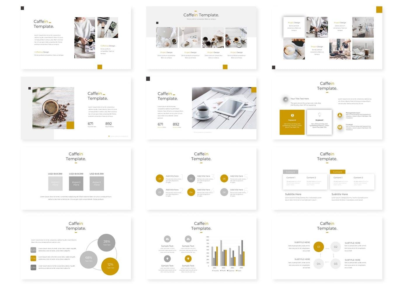 PPT模板时尚高端优雅简约咖啡馆配色的多用途powerpoint幻灯片演示模板(pptx)设计素材模板