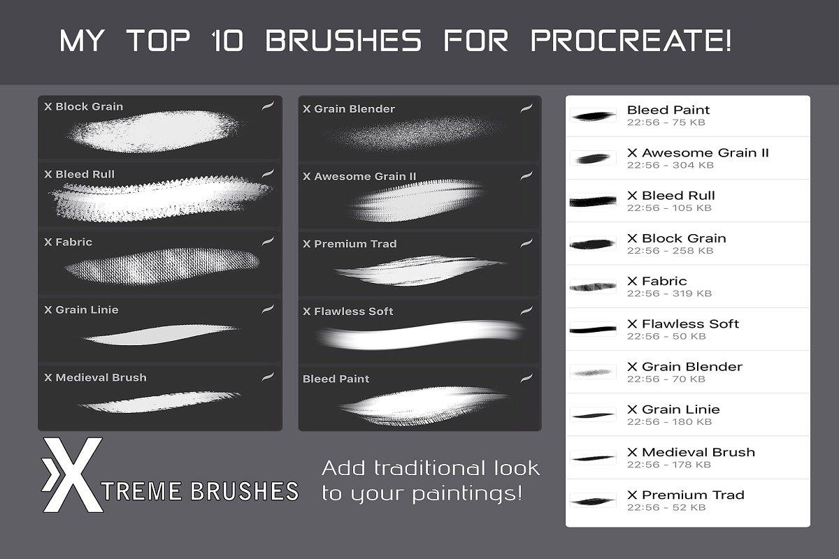 iPad Pro笔刷下载墨迹笔刷Procreate笔刷下载[brushset]设计素材模板