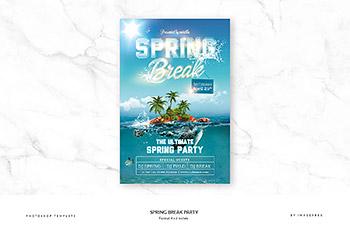 海报模板春季旅游广告设计 Spring Break Party
