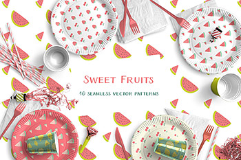 插图绘画甜美的水果 Sweet Fruits Vector Patterns