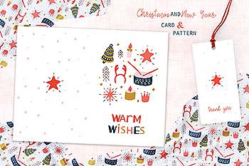 圣诞玩具手绘图案背景素材/贺卡设计模板 Christmas Toys Greeting Card and Pattern